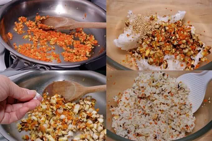Cách làm cơm nắm rau củ Hàn Quốc